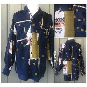 Goouch Vintage Mens L/S  Button Down Silk Shirt